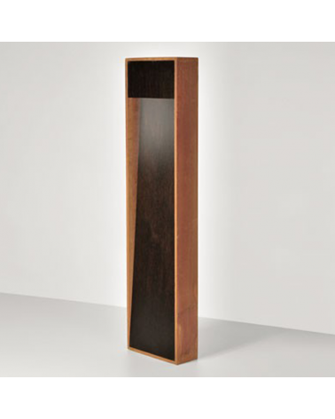 Zen outdoor beacon 50 cm high finished in corten and wood LED 4,5W 3000K IP55