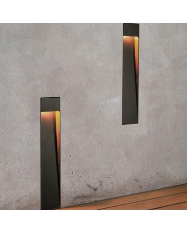 Iluminación pared empotrable Zen WR 50 cm de altura en acabado en corten y madera LED 4,5W 3000K IP55