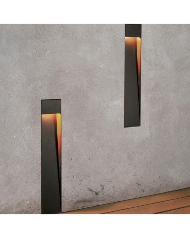 Zen WR recessed wall lighting 50 cm high in corten and wood finish LED 4,5W 3000K IP55