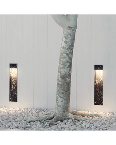 Iluminación pared empotrable Zen WR 50 cm de altura en acabado en acero y negro LED 4,5W 3000K IP55