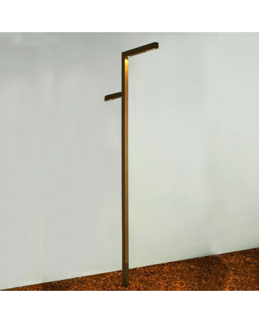 Farola de exterior 270cm de altura de aluminio y madera 2 LED 4x6,4W 2x6,4 3000K IP65