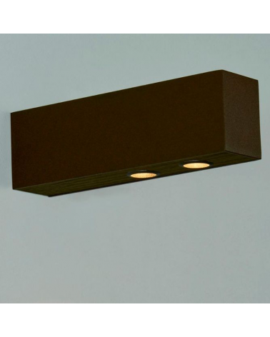 Outdoor wall light in aluminum and wood LED 2x6,4W 3000K IP65