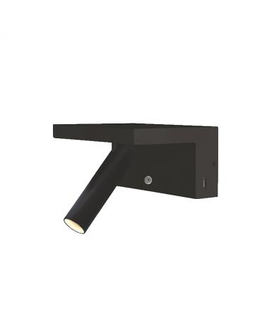 Aplique de pared acabado negro LED 5W Aluminio doble cargador movil USB 2700 K.