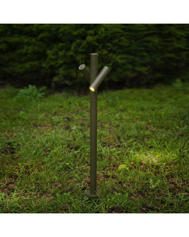 Outdoor beacon Tube 90 cm high finished in khaki with 2 rotating LED spotlights of 4.5W 3000K IP55