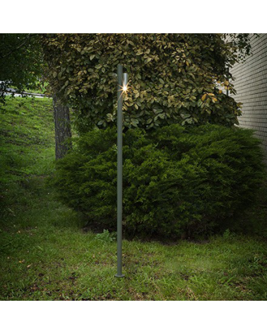 Outdoor beacon Tube 180 cm high finished in khaki with rotating LED spotlight 4.5W 3000K IP55