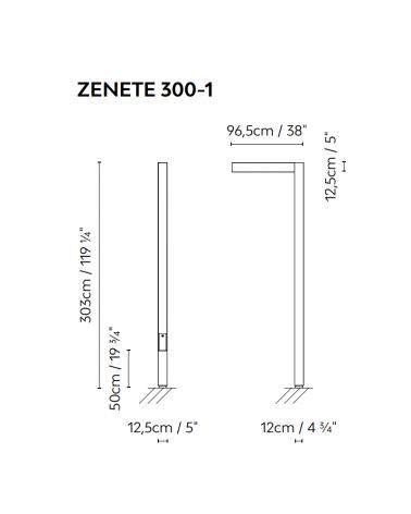 Zenete outdoor lamppost 300-1 303cm high galvanized metal LED 23.6W 3000K IP65