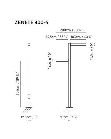 Farola de exterior Zenete 400-1 303cm de altura de metal galvanizado LED 2x23,6W 3000K IP65