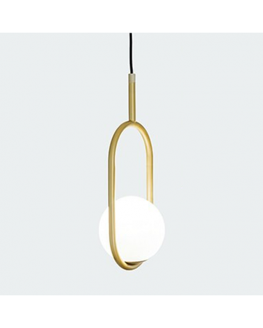 Design ceiling lamp in metal C_BALL S1 with E14 12W opal glass sphere