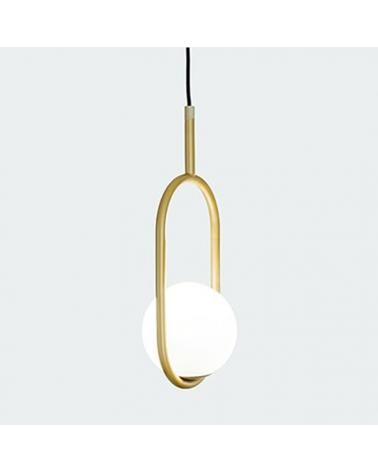 Lámpara de diseño de techo en metal C_BALL S1 con esfera de vidrio opal E14 12W