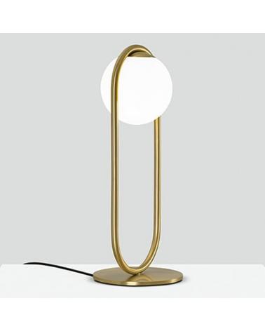 Lámpara de diseño de mesa en metal C_BALL T 50 cm con esfera de vidrio opal E14