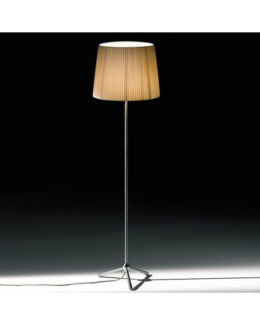 Design floor lamp 162 cm ROYAL F with stainless steel tripod. E27 23W pleated fabric lampshade