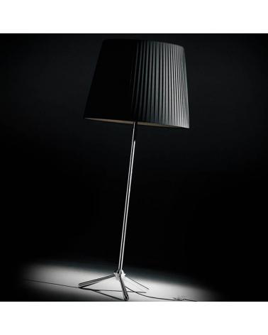 Lámpara de diseño de pie 200 cm ROYAL F con trípode acero inox. pantalla tela plisada E27 23W