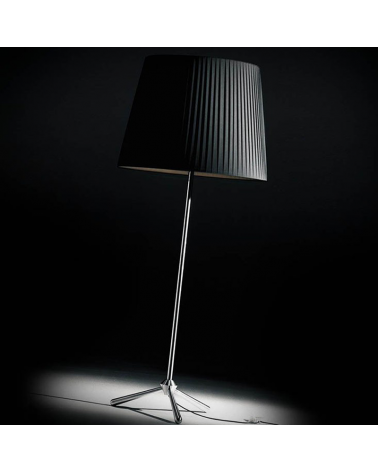 ROYAL F design floor lamp 200 cm with stainless steel tripod. E27 23W pleated fabric lampshade