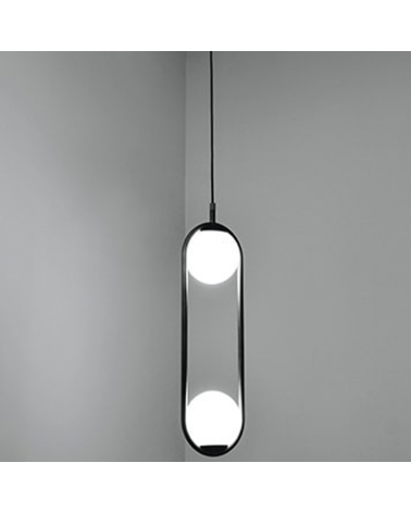 Design ceiling lamp in metal C_BALL S2 with 2 opal glass spheres E14 12W