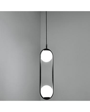 Lámpara de diseño de techo en metal C_BALL S2 con 2 esferas de vidrio opal E14 12W