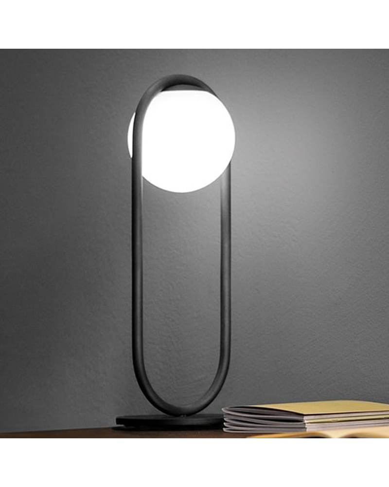 Design table lamp in metal C_BALL T 50 cm with E14 opal glass sphere