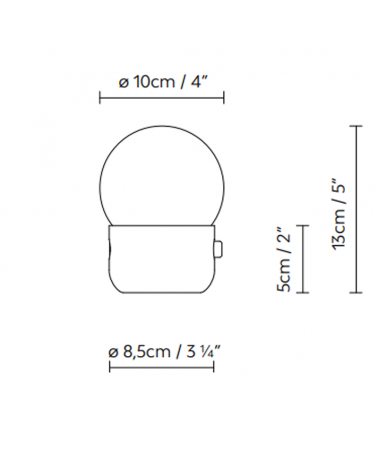 Portable opal glass sphere design LED table lamp KUP CAMP 13 cm 3000K 1,3W