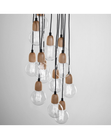 Design ceiling lamp ILDE WOOD MAX S13 with 13 wooden pendant LED 13x2W 2700k