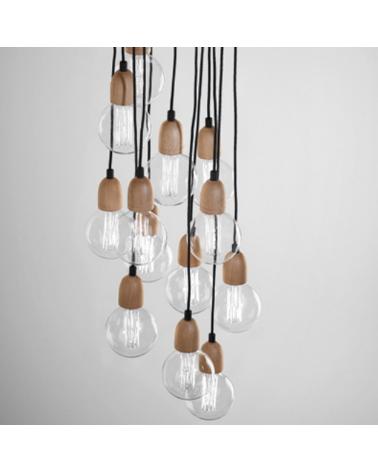 Lámpara de diseño de techo ILDE WOOD MAX S13 con 13 pendel de madera LED 13x2W 2700k