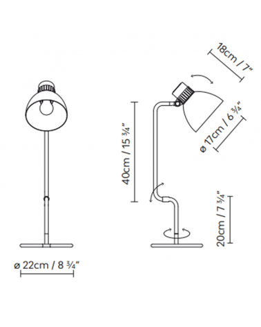 Articulated table lamp BLUX SYSTEM T40 aluminum lampshade E27 11W