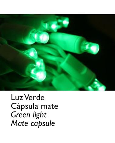Guirnalda 12m y 180 LEDs verde cápsula mate, empalmable, IP65 apta para exterior