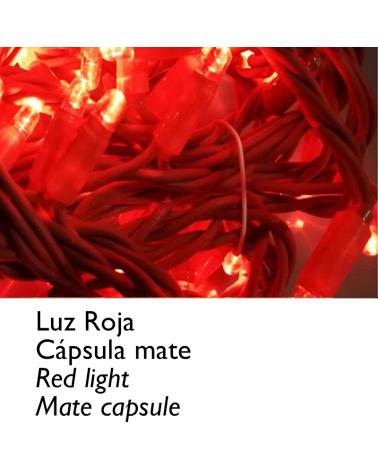 Guirnalda 12m y 180 LEDs roja cápsula mate, empalmable, IP65 apta para exterior