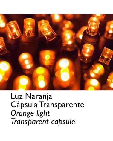Guirnalda 12m y 180 LEDs naranja cápsula clara cable naranja, empalmable IP65 apta para exterior