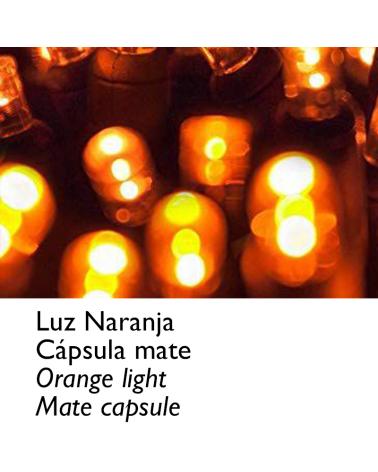 Guirnalda 12m y 180 LEDs naranja cápsula mate cable naranja, empalmable IP65 apta para exterior