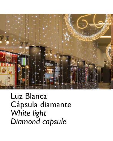 Guirnalda 12m y 180 LEDs blanco cápsula diamante, empalmable, IP65 apta para exterior