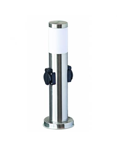 Baliza de acero inoxidable IP44 acabado cromo E27  forma cilindro con 2 enchufes estanco