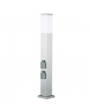 Stainless steel beacon IP44 with E27 nickel finish with 2 watertight plugs
