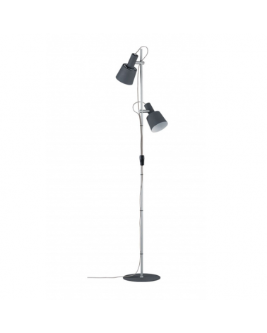 Lámpara de pie 152cm con dos focos gris oscuro y cromo 1 X 20W E14