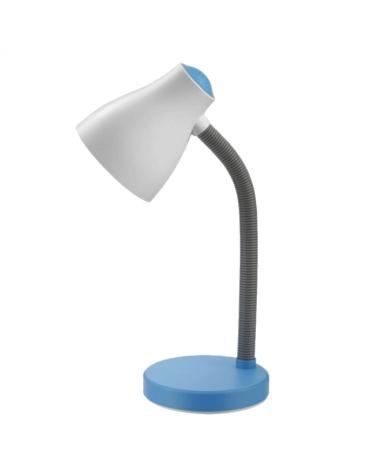 Flexo de acrílico 35cm pantalla blanca brazo flexible base en colores variados 60w E27