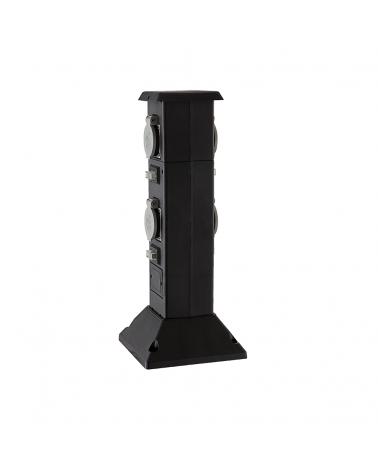 Baliza de 40 cm IP44 de plástico negro con 4 enchufes estanco