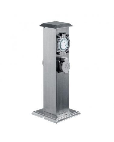 40 cm stainless steel beacon IP44 gray finish with 2 watertight plugs with programmable clock