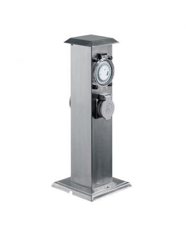 Baliza de 40 cm de acero inoxidable IP44 acabado gris con 2 enchufes estanco con reloj programable
