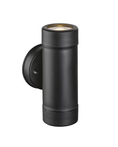 Black outdoor wall light IP44 GU10 high 16cm