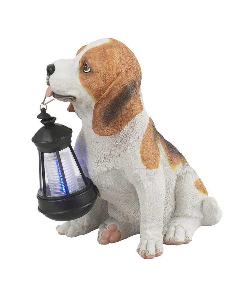 Brown dog shape solar lamp 26 cm