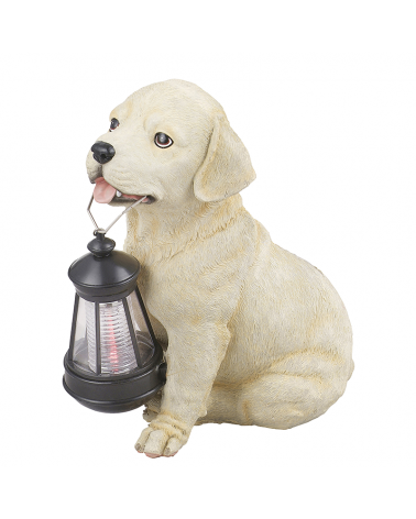 25 cm beige dog shape solar lamp