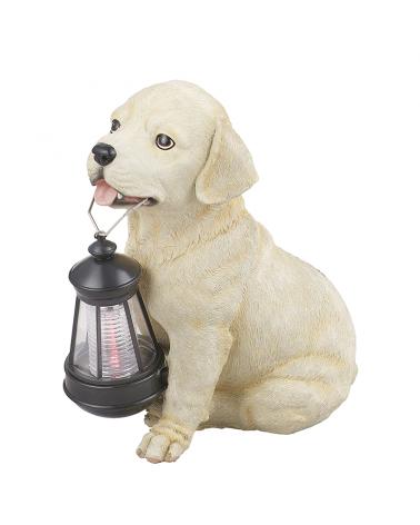 Lámpara solar forma de perro beige 25 cm