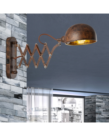 E14 rust finish metal wall light