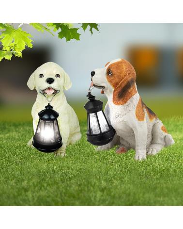 Lámpara solar forma de perro marrón 26 cm