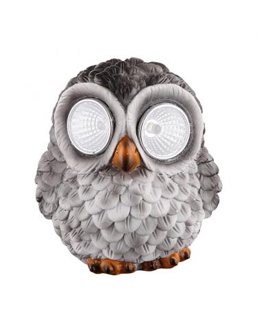 Gray owl solar lamp 9cm 0,024W 3V LED