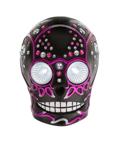 LED solar lamp with purple and black skull shape 16.5cm IP44