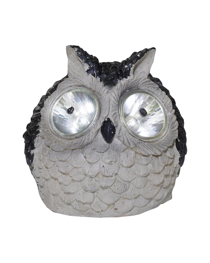Solar light grey owl shape LED IP44