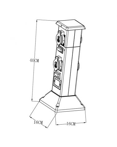 40 cm IP44 black plastic beacon with 4 watertight plugs