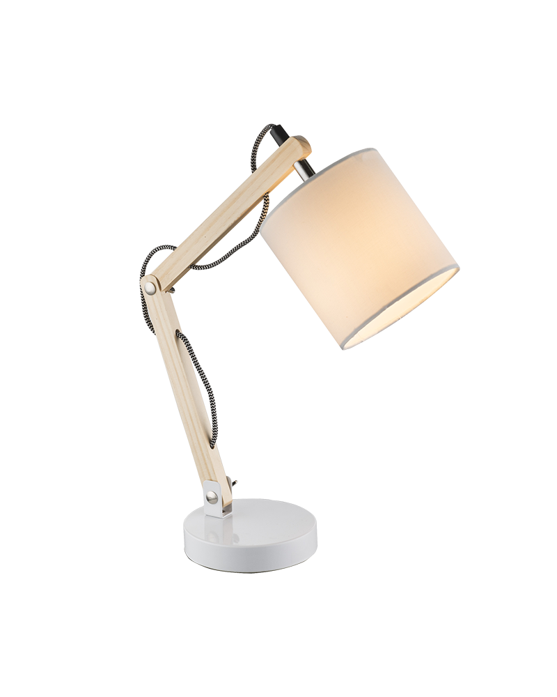 44cm flexo made of light wood, white metal and 25W E14 textile lampshade