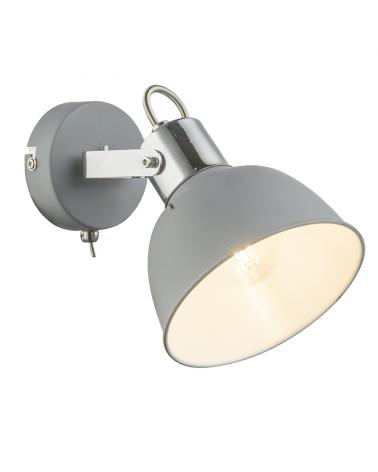 Aplique 16cm en metal cromado y acabado gris E14 40W