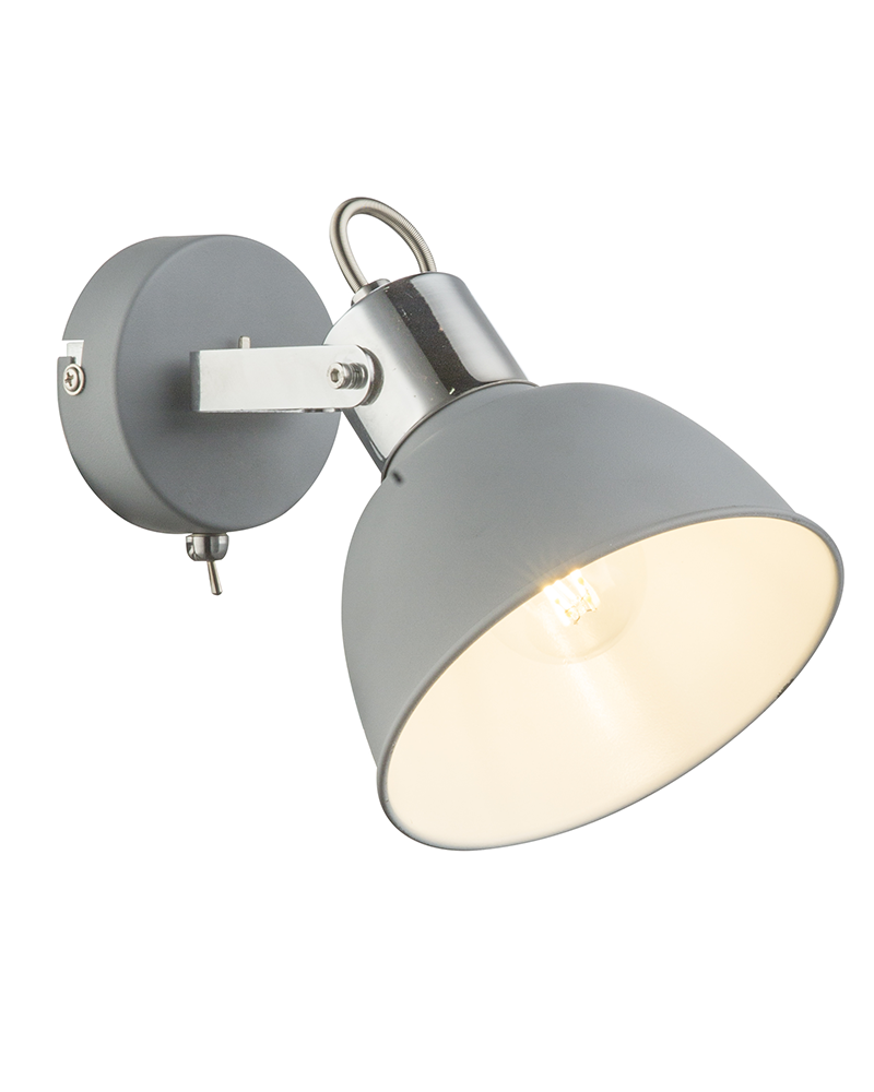 16cm wall lamp in chromed metal and gray finish E14 40W