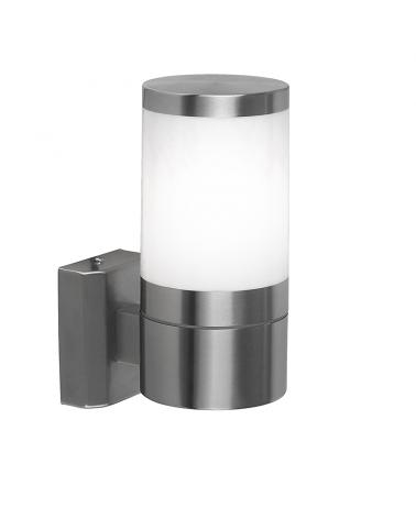 Aplique de exterior cilíndrico 15,5cm acabado acero y blanco E27 60W IP44